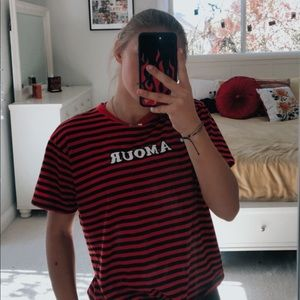 "Red and Black ""amour"" Tee"